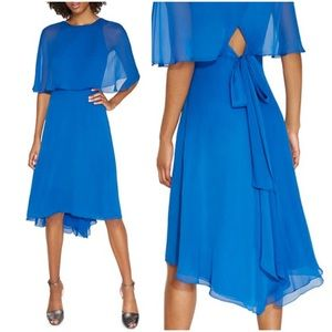 NWT Halston Heritage Draped Chiffon Cape Dress